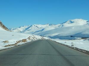 een dikke laag sneeuw naast het wegdek
